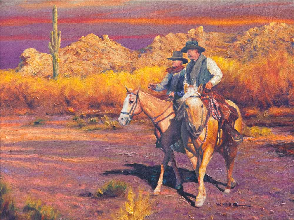 """A Pair by Victor Hohne, 16""""h x 20""""w, original painting oil on canvas, Tucson, Arizona"""