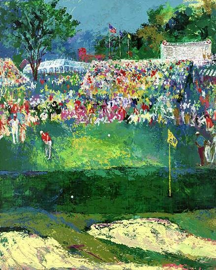 """Beth Page Black Course by LeRoy Neiman, Size: 35 1/4""""h x 28""""w, Published 2002, Limited Edition Serigraph, Numbered 350 pieces+70 A.P.+8 P.P., Signed and numbered by LeRoy Neiman"""