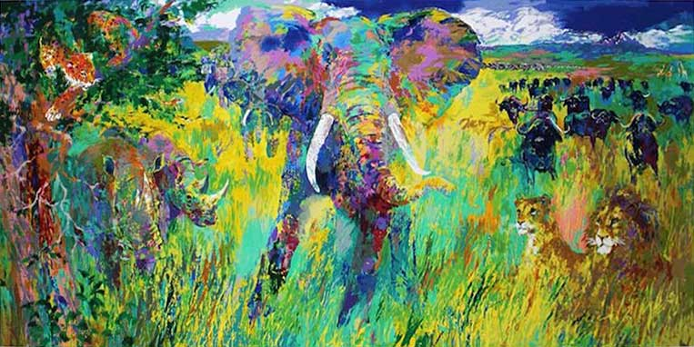 """Big Five by LeRoy Neiman, Size: 21""""h x 42""""w, Published 2001, Limited Edition Serigraph, Numbered 585 pieces, Signed and numbered by LeRoy Neiman"""