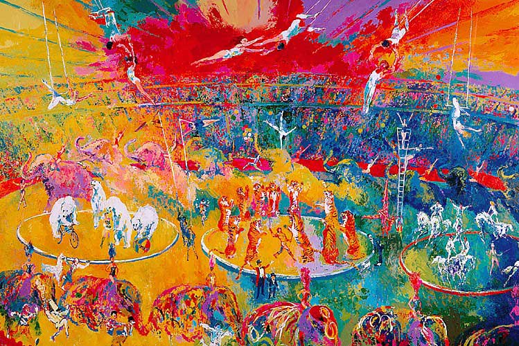"""Circus by LeRoy Neiman, Size: 43 3/4""""h x 65""""w, Published 2001, Limited Edition Serigraph, Numbered 90 pieces, 18 Artist Proofs, 5 Printers Proofs, Signed and numbered by LeRoy Neiman"""