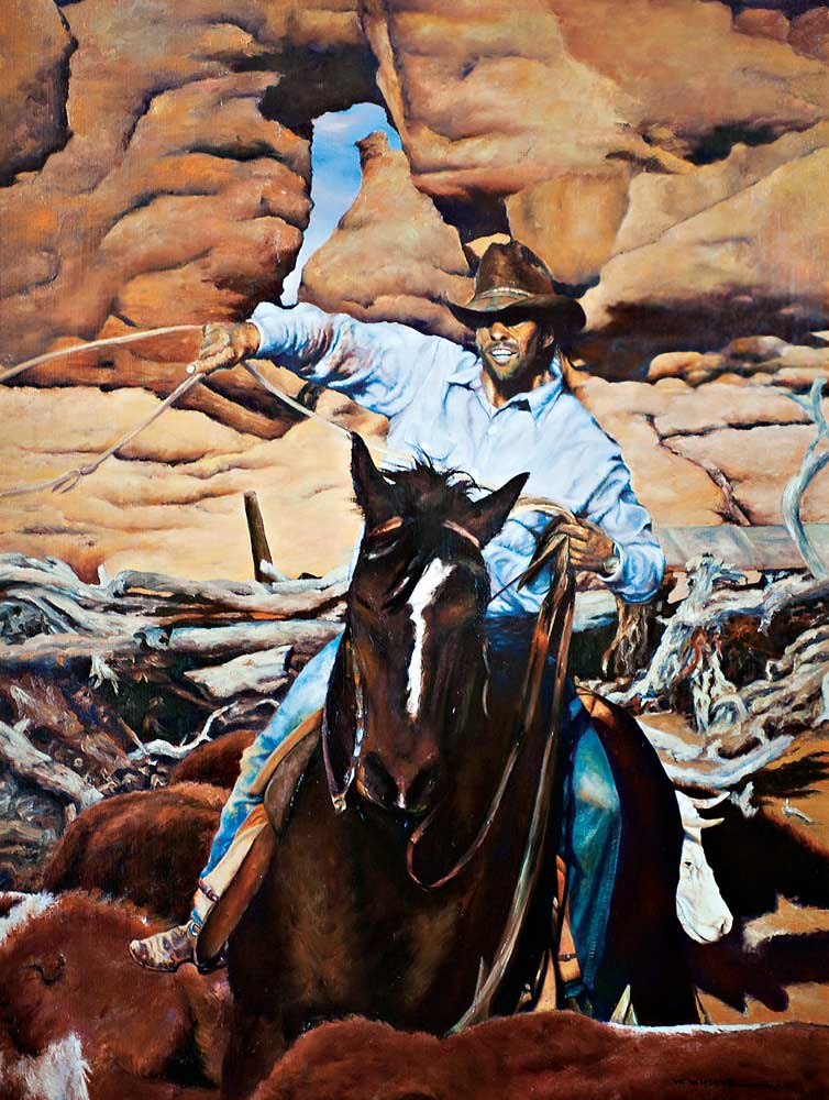 """Cowboy Jay by Victor Hohne, Size: 48""""h x 38""""w, original painting oil on canvas, Riding Below the Plateau Grand Gultch, Utah"""