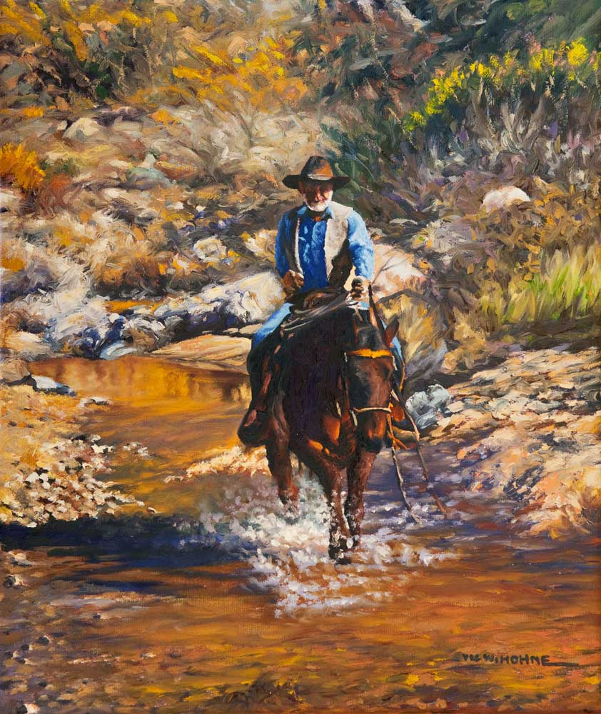 """Creek Run by Victor Hohne, Size: 20""""h x 16""""w original painting oil on canvas, Catalina Foothills, Tanque Verde, Pima County, Arizona"""