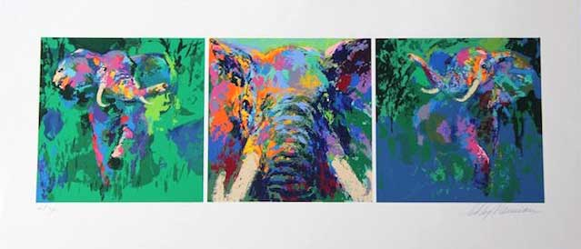 """Elephant Triptych by LeRoy Neiman, Size: 12""""h x 36 1/4""""w, Published 2002, Limited Edition Serigraph, Numbered 425 pieces, Signed and numbered by LeRoy Neiman"""