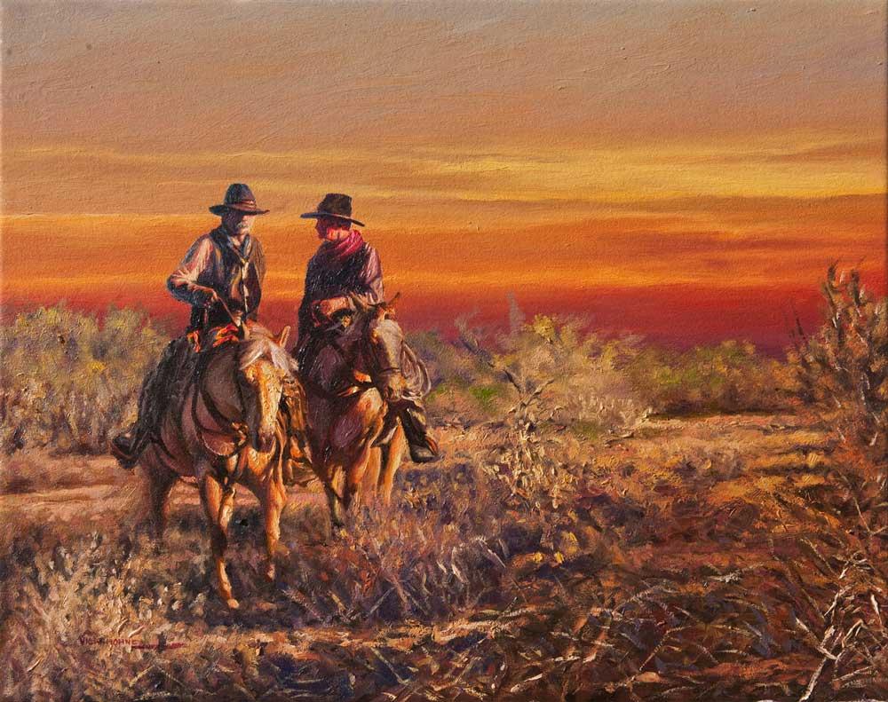 """Evening Trail by Victor Hohne, Size: 20""""h x 24""""w, original painting oil on canvas"""