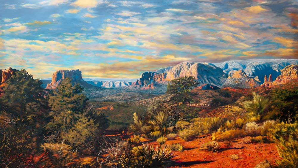 """Evening Version by Victor Hohne, Size: 40""""h x 60""""w, original painting oil on canvas, Red Rock State Park, Boynton canyon, Sedona, Arizona"""