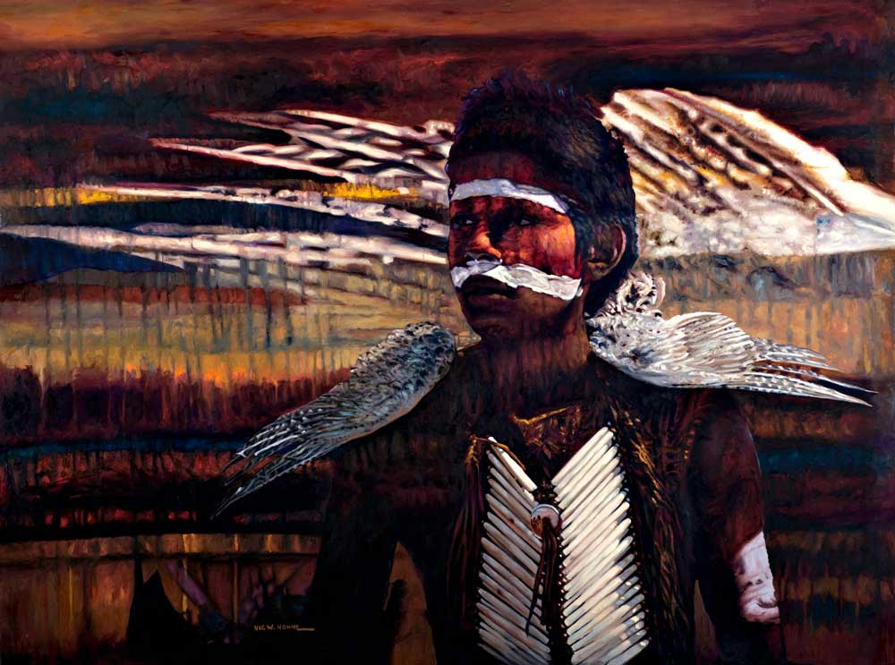 """Feather by Victor Hohne, Size: 30""""h x 40""""w, original painting oil on canvas, Three Islands, Three Cultures transformation of one culture into another: The New West"""