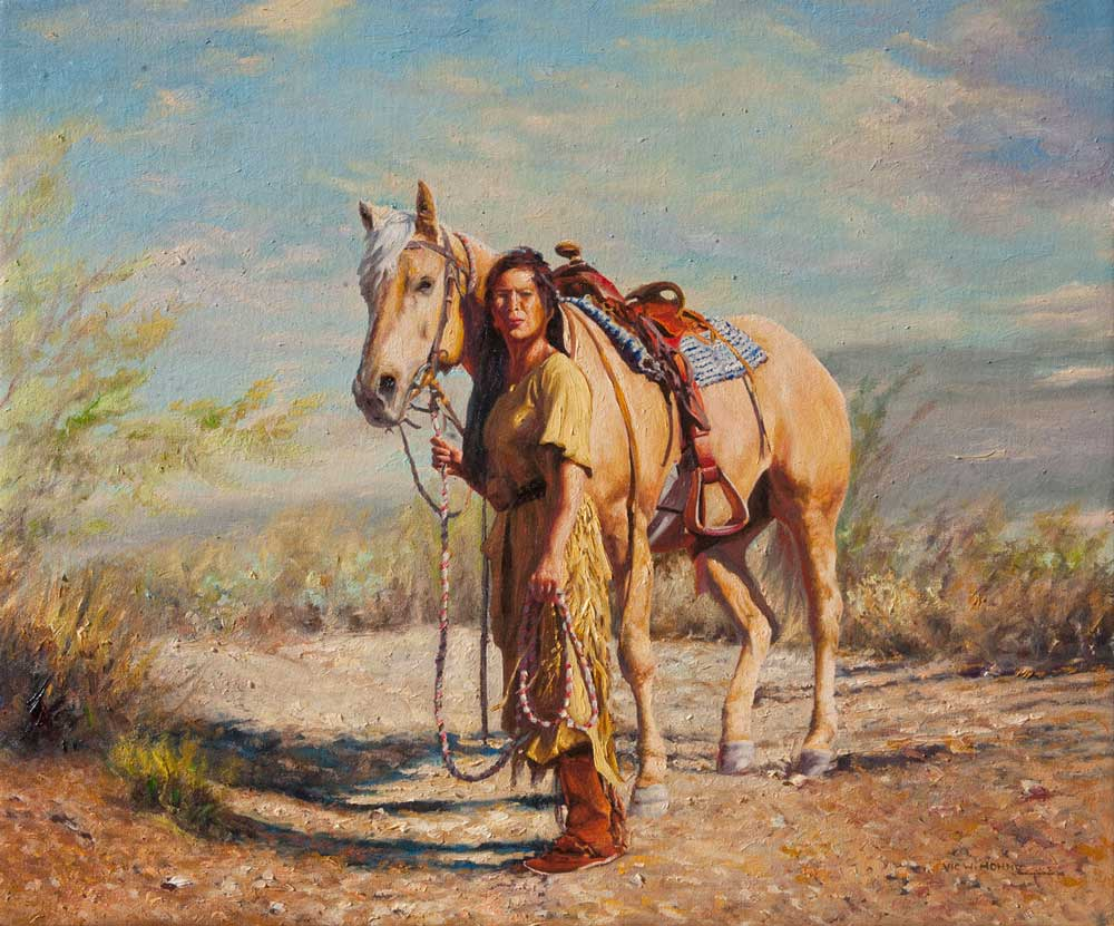 """Friends with Rebecca by Victor Hohne, Size: 20""""h x 24""""w, original painting oil on canvas"""