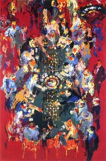 """Gaming Table by LeRoy Neiman, Size: 38""""h x 25""""w, Published 1990, Limited Edition Serigraph, Numbered 250 pieces, Signed and numbered by LeRoy Neiman"""