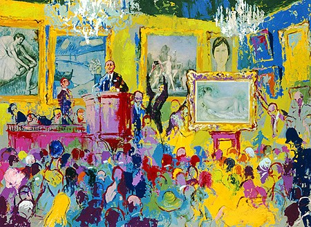 """International Auction by LeRoy Neiman, Size: 28""""h x 38""""w, Published 2005, Limited Edition Serigraph, Numbered 295 pieces, Signed and numbered by LeRoy Neiman"""