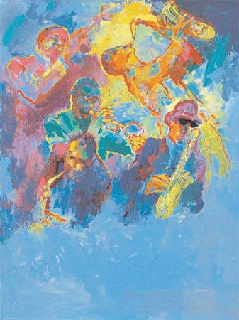 """Jazz Horns by LeRoy Neiman, Size: 28""""h x 21""""w, Published 2004, Limited Edition Serigraph, Numbered 250 pieces, Signed and numbered by LeRoy Neiman"""