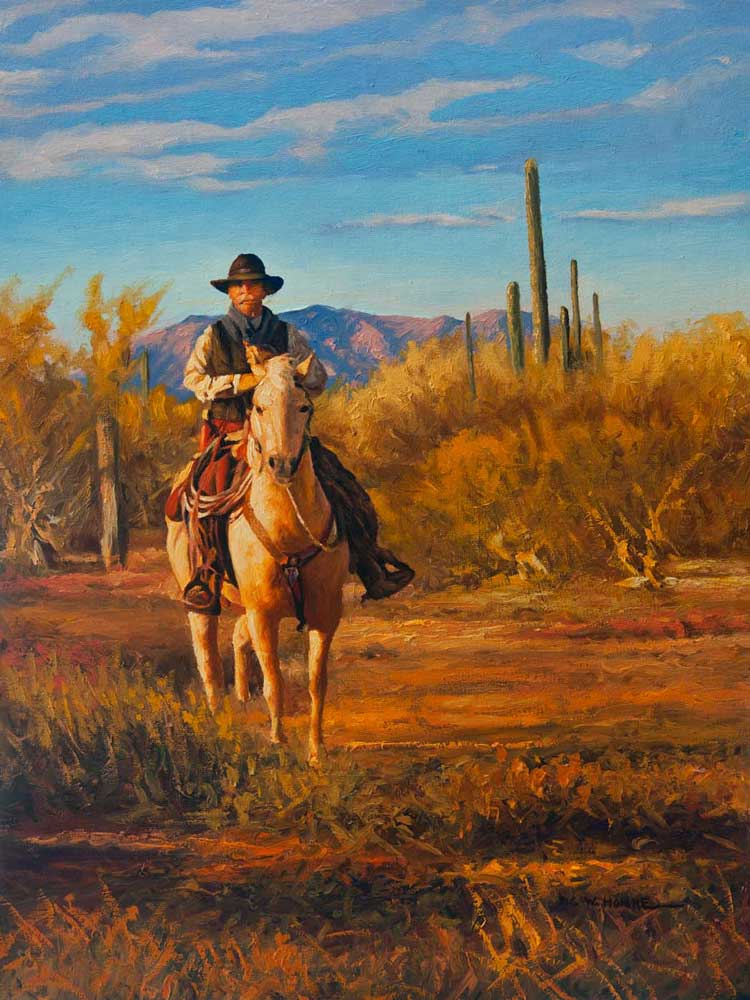 """Law & Order by Victor Hohne, Size: 20""""h x 16""""w, original painting oil on canvas, Heart of the Sonoran Desert Wickenburg, Yavapai County, Arizona"""