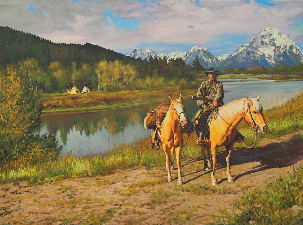 "Mountain Man by Victor Hohne, Size: 36""h x 48""w, original painting oil on canvas, Grand Teton Mountain Range, Wyoming, Snake River"