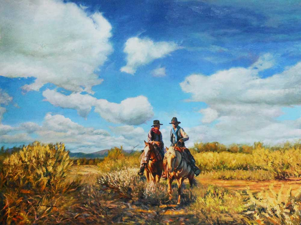 """On The Trail, by Victor Hohne, Size: 24""""h x 36""""w, original painting oil on canvas, Hassayampa River Trail, Wickenburg, Yavapai County, Arizona"""
