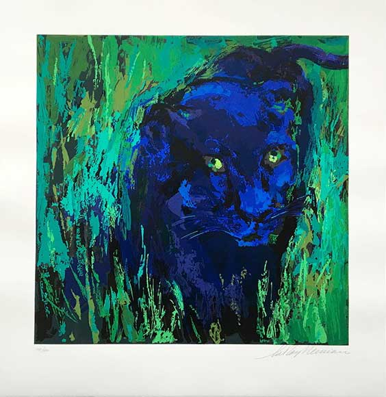"""Portrait of the Black Panther by LeRoy Neiman, Size: 24""""h x 25""""w, Published 2004, Limited Edition Serigraph, Numbered 450 pieces, Signed and numbered by LeRoy Neiman"""