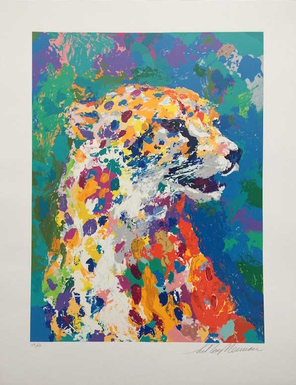 """Portrait of the Cheetah by LeRoy Neiman, Size: 28""""h x 21""""w, Published 2004, Limited Edition Serigraph, Numbered 450 pieces, Signed and numbered by LeRoy Neiman"""