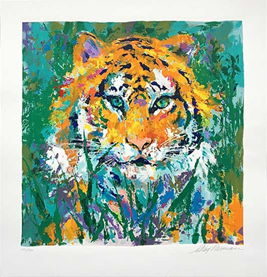 """Portrait of the Tiger by LeRoy Neiman, Size: 25 1/2""""h x 25 1/2""""w, Published 1998, Limited, Edition Serigraph, Numbered 425 pieces, Signed and numbered by LeRoy Neiman"""