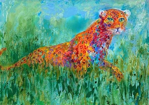 """Prowling Leopard by LeRoy Neiman, Size: 26 3/4""""h x 35""""w, Published 2003, Limited Edition, Serigraph, Numbered 425 pieces, Signed and numbered by LeRoy Neiman"""