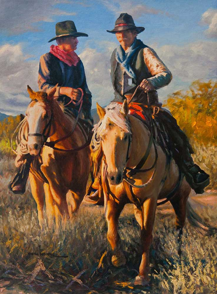 """Red Scarf, Victor Hohne 20""""h x 16""""w, original painting oil on canvas, Riding Together"""