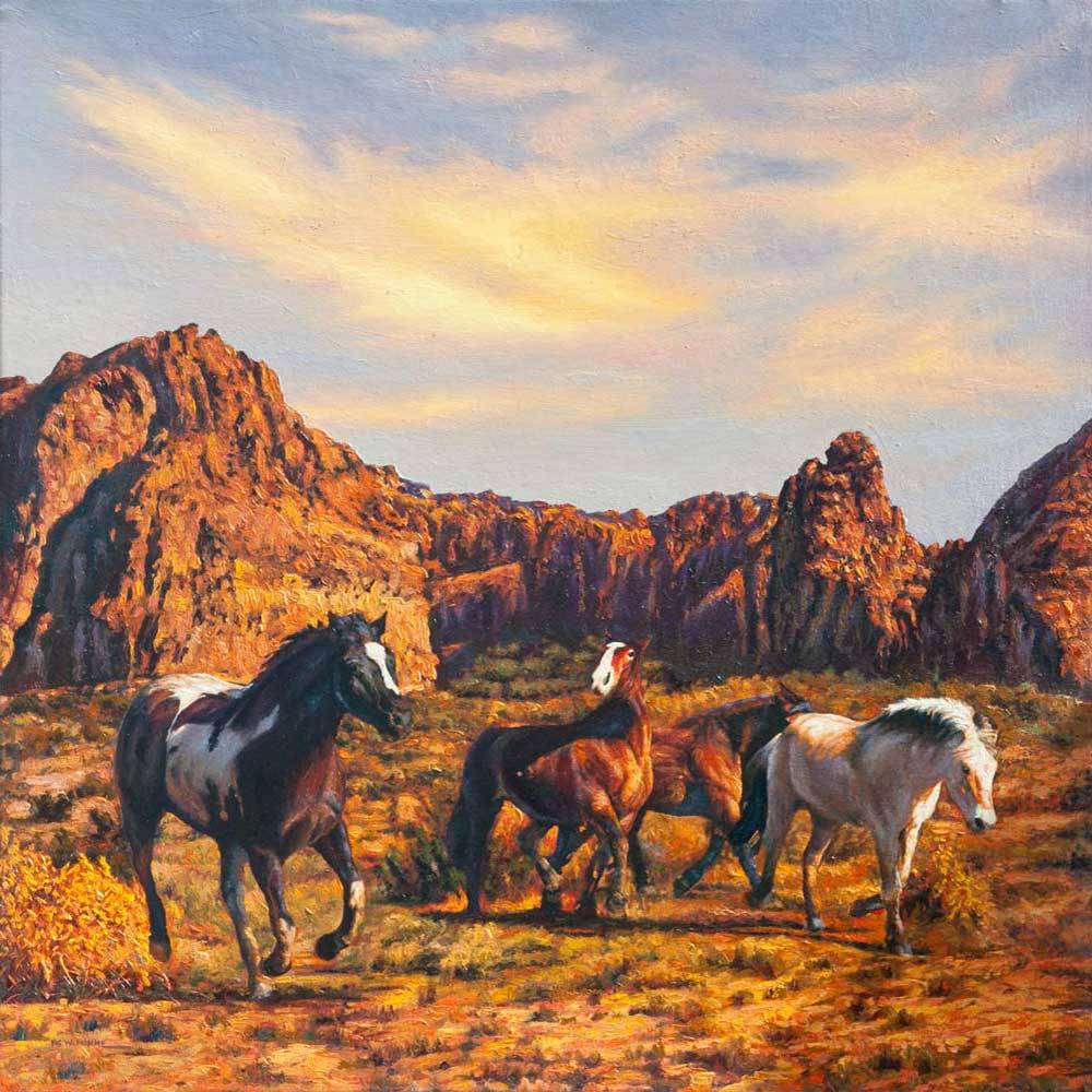 """Running Free by Victor Hohne, Size: 36""""h x 36""""w, original painting oil on canvas, Wild Horses, The Jemez Mountains, New Mexico"""