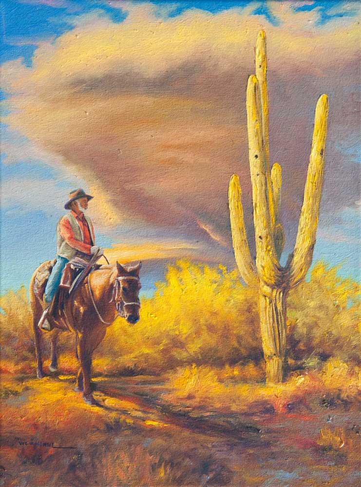 """Sky, by Victor Hohne, Size: 20""""h x 16""""w, original painting oil on canvas, Riding Through Yellow Desert Shrubs & Saguaro"""
