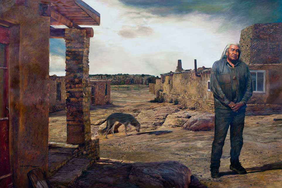 """Solitaire by Victor Hohne, Size: 40""""h x 60""""w, original painting oil on canvas, People of the White Rock Acoma Pueblo, New Mexico 2000 year old settlement 50 tribal members live here including the man feature in this portrait"""