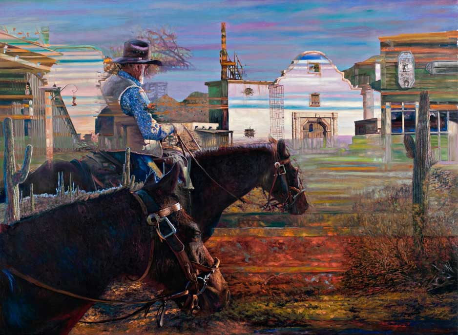 """Southwest Dream by Victor Hohne, Size: 40""""h x 50""""w, original painting oil on canvas, Remembering A Bygone Era Homage to John Wayne Old Tucson & Saguaro National Park"""