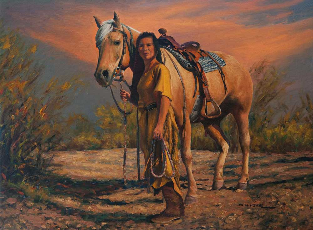 """Sunset Friends by Victor Hohne, Size: 12""""h x 16""""w, original painting oil on canvas, Rebecca Wickenburg, Arizona"""