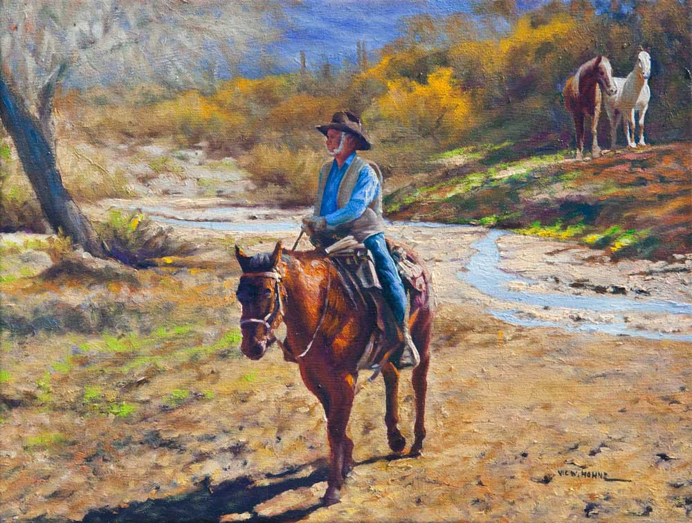 """Three Horses, by Victor Hohne, Size: 16""""h x 20""""w, original painting oil on canvas, Trail Ride"""