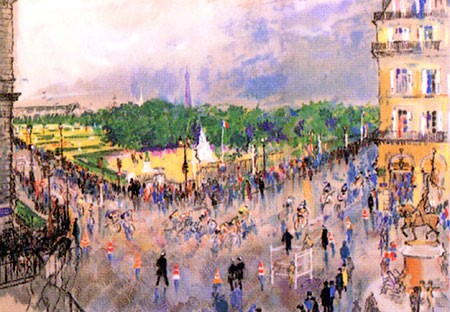 """Tour-de-France by LeRoy Neiman, Size: 23 3/8""""h x 33 7/8""""w, Published 1981, Limited Edition Serigraph, Numbered 300 pieces, Signed and numbered by LeRoy Neiman"""