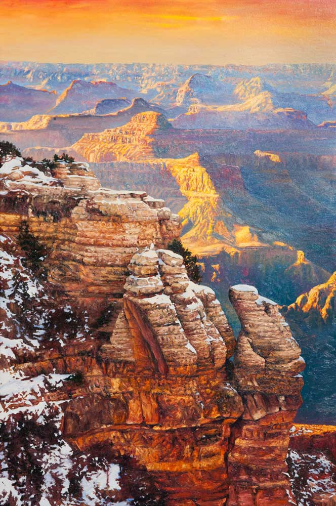 """Winter Elegance by Victor Hohne, Size: 40""""h x 30""""w, original painting oil on canvas, Grand Canyon, Bright Angel Trail, Phantom Ranch, Backcountry"""